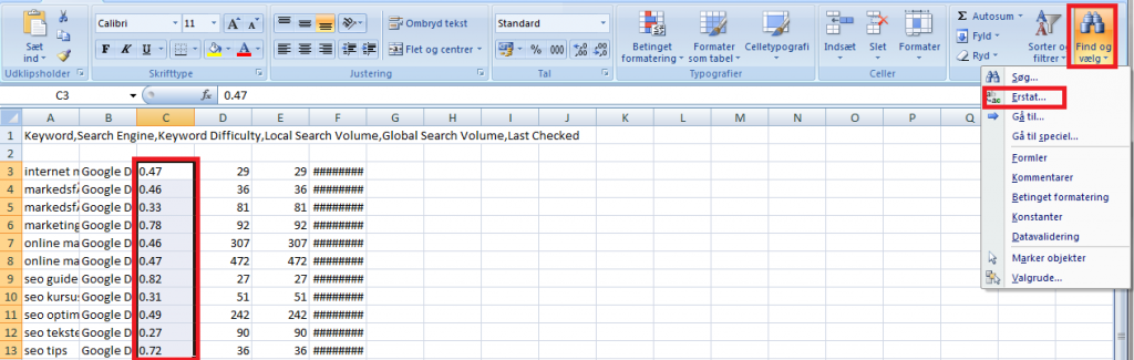 Erstat i Excel