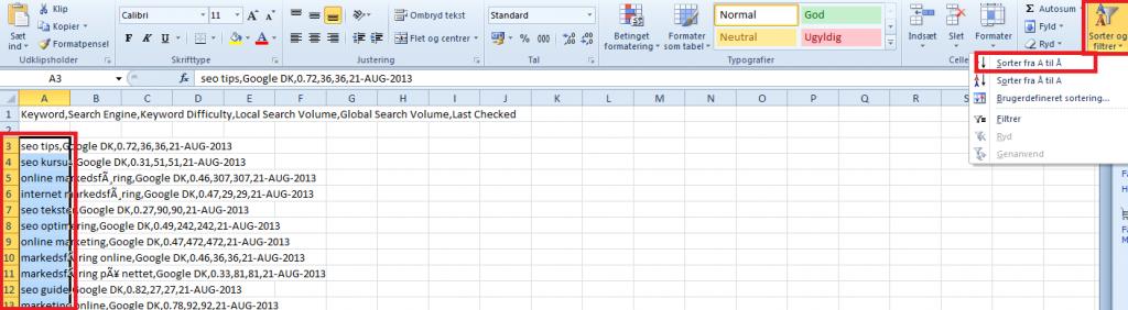 Sorter søgeord i Excel