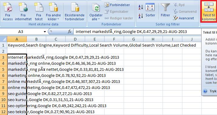 Tekster til kolonner - Excel