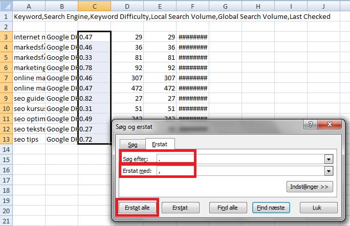 komma til punktum Excel